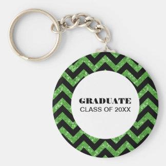Chaveiro verde da graduação do brilho de Chevron
