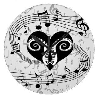 Chaves do coração e do piano das notas musicais relógios para paredes