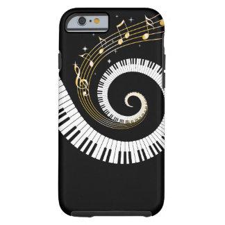 Chaves do piano e notas da música do ouro capa tough para iPhone 6