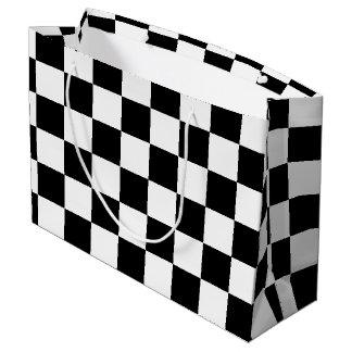 Checkered preto sacola para presentes grande