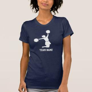 Cheerleader no salto mostrado em silhueta branco camisetas