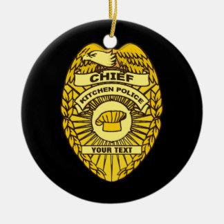 Chefe do crachá da polícia de cozinha ornamento de cerâmica redondo
