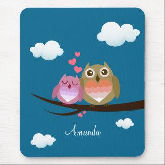 Cheio bonito bonito do casal da coruja do coração mouse pad