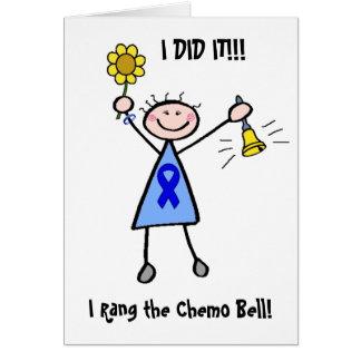 Chemo Bell - mulher do cancro do cólon Cartão Comemorativo
