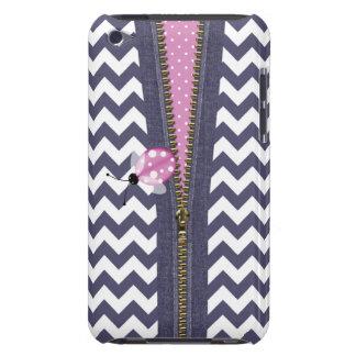 Chevron azul à moda com Zipper & o joaninha Capa Para iPod Touch