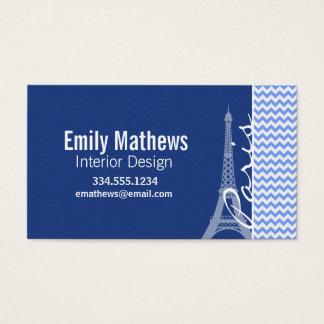 Chevron azul; Paris Cartão De Visitas