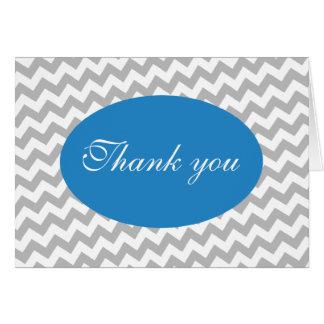 Chevron cinzento e cartões de agradecimentos moder