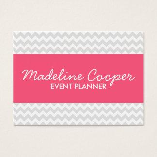 Chevron moderno cinzento e cor-de-rosa cartão de visitas