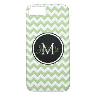 Chevron Monogrammed preto e branco verde Capa iPhone 7