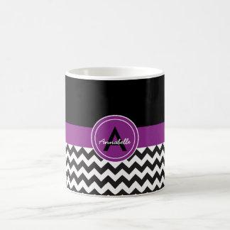 Chevron roxo preto caneca de café