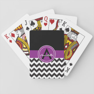 Chevron roxo preto jogo de baralho