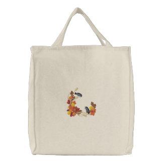 Chickadees do outono bolsas bordadas
