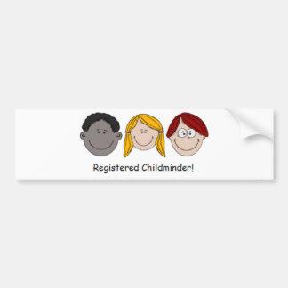 Childminder registrado adesivo para carro