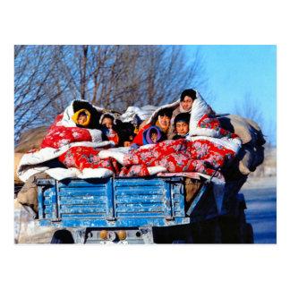 China no inverno, visita da família cartão postal