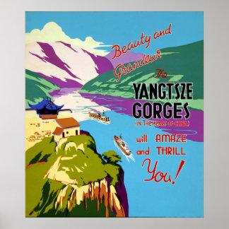 China o Rio Yangtzé Gorges o poster das viagens