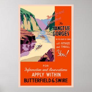 China Yangtsze Gorges viagens vintage Poster