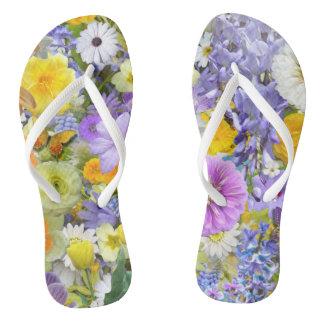 Chinelos - flores e borboletas