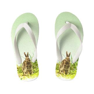 Chinelos Infantis O verde bonito do coelho de coelho de Brown caçoa