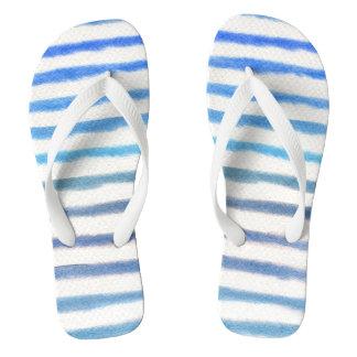 Chinelos Listras azuis da aguarela