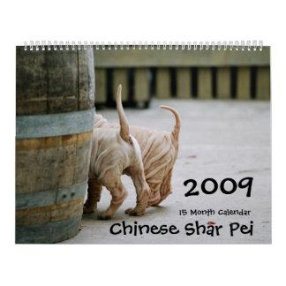 Chinês Shar Pei calendário de 15 meses