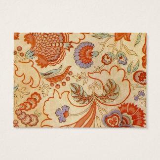 Chintz floral alaranjado coral Paisley Cartão De Visitas