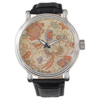 Chintz floral alaranjado coral Paisley Relógio De Pulso