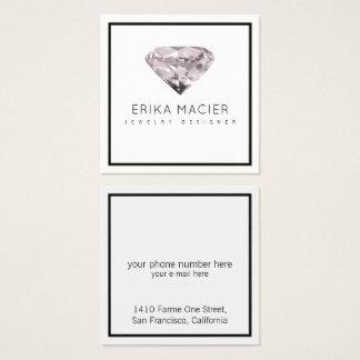 chique do design da jóia & branco & claro cartão de visitas quadrado