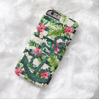 Chique floral tropical da âncora do brilho do capa barely there para iPhone 6