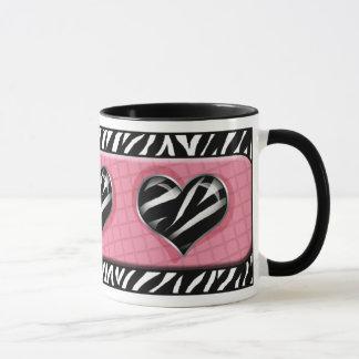 Chique minha caneca do impressão da zebra do rosa