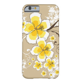 Chique tropical do hibiscus do Grunge do amarelo Capa Barely There Para iPhone 6