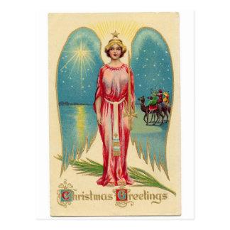 Christmas angel with decorative wings cartão postal