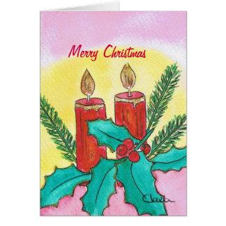 Christmas Candles Cartão Comemorativo