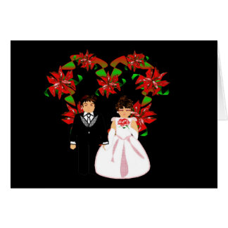Christmas Wedding Couple I With Heart Wreath Greeting Cards