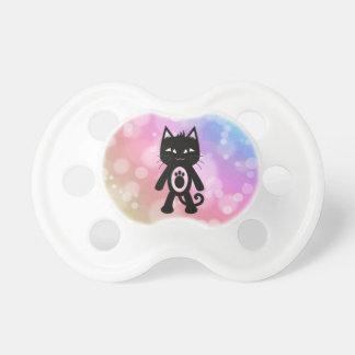 Chupeta Arco-íris de Kawaii e gato preto