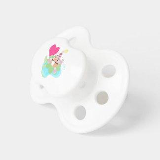Chupeta Pássaros cor-de-rosa da bailarina com o muffin