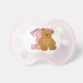 Chupeta Urso feliz do primeiro aniversario da menina com 1