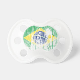 Chupeta Vintage Brazil Flag Nacional Pacifier White