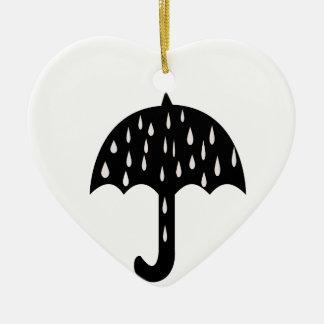 chuva do guarda-chuva ornamento de cerâmica coração