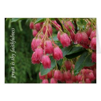 Chuva em flores de Bell cor-de-rosa Cartão Comemorativo