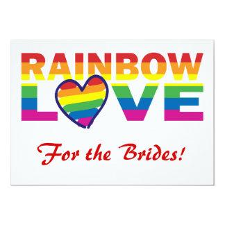 Chuveiro nupcial do arco-íris para as noivas! convite 12.7 x 17.78cm