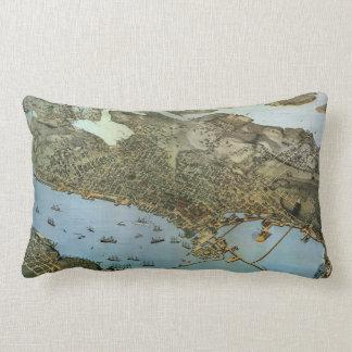 Cidade antiga da opinião aérea do mapa de Seattle Almofada Lombar