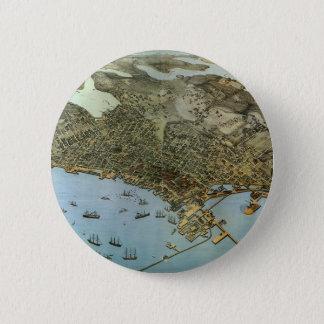Cidade antiga da opinião aérea do mapa de Seattle Bóton Redondo 5.08cm