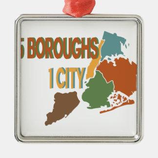 Cidade de 5 cidades ornamento quadrado cor prata