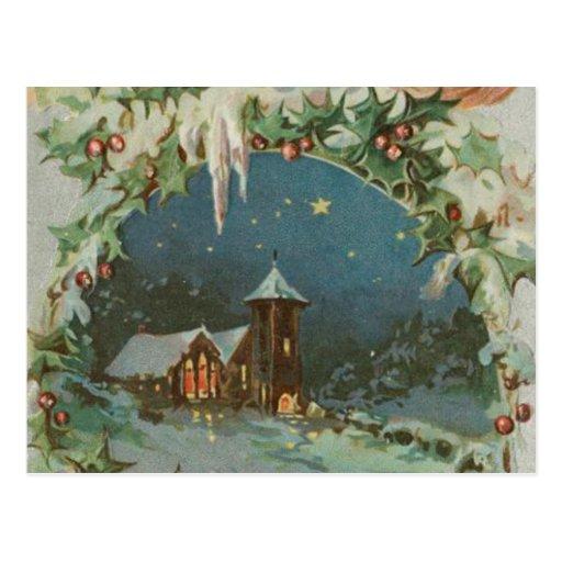 Cidade do natal vintage com crianças cartão postal