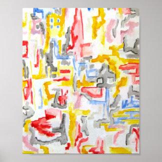 Cidade enevoada - arte abstracta poster