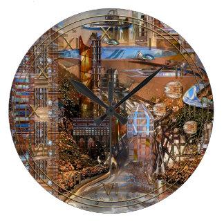 Cidade futurista do antro de Eagle Relógios De Pendurar