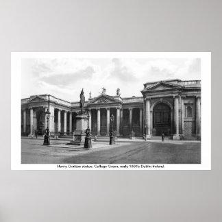 Cidade Ireland de Dublin, verde adiantado da facul Posteres