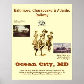 Cidade Maryland do oceano, poster das viagens