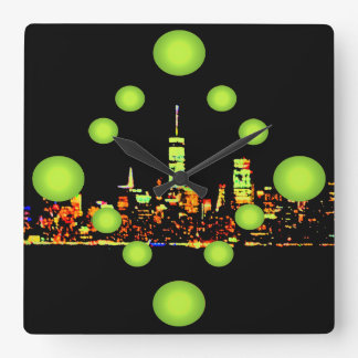 Cidade New York da noite do pop art NYC Relógios De Paredes