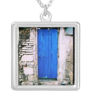 Cidade velha da PORTA AZUL de Chania, Crete Colar Banhado A Prata